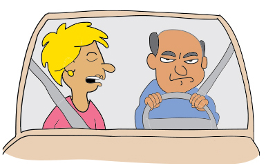 """Cartoon of a couple in a car. The woman says, """"""""I only nag you when you're lost. The problem is, you're always lost."""""""